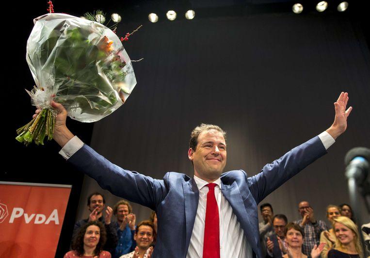 Lodewijk Asscher tijdens de bekendmaking en het winnen van de PvdA-lijsttrekkersverkiezing in 2016. Beeld ANP