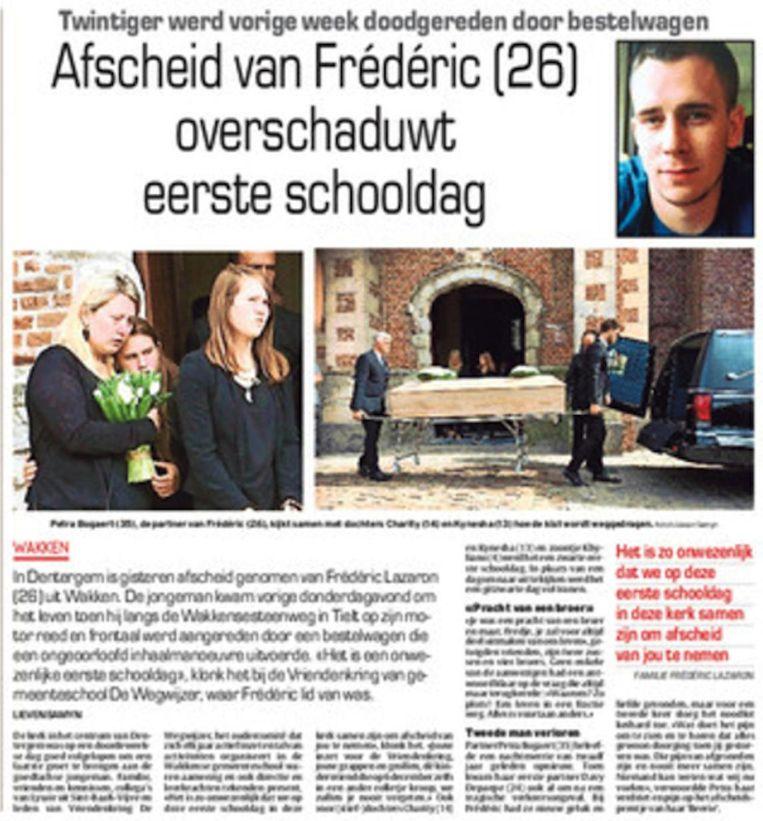 Vorig jaar moest de familie van Frédéric afscheid nemen tijdens de eerste schooldag.