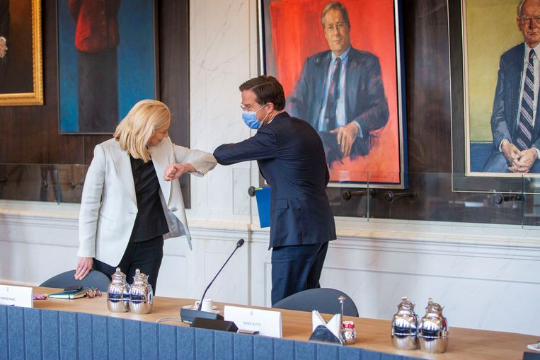 Sigrid Kaag (D66) en Mark Rutte (VVD).  Beeld Werry Crone
