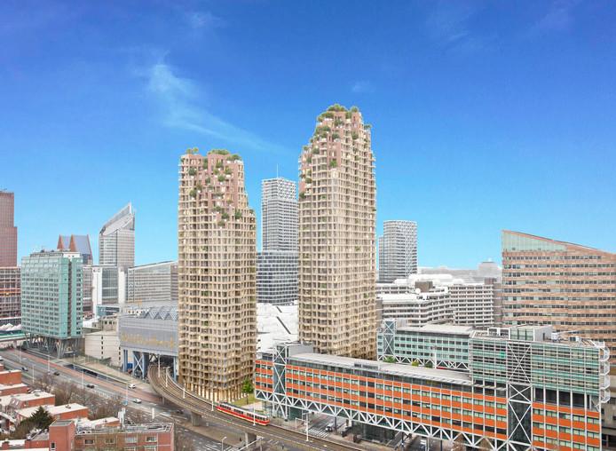 De schets voor twee woontorens aan de Grotiusplaats bij het Centraal Station. Om de bevolkingsgroei bij te benen zijn wolkenkrabbers als deze hard nodig.