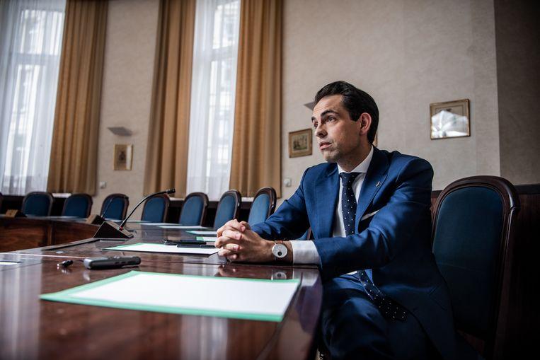 Vlaams Belang-voorzitter Tom Van Grieken. Beeld Photo News