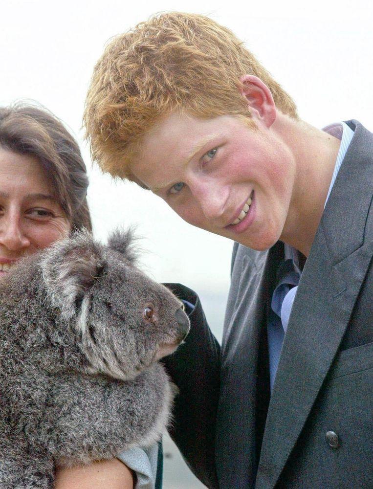 Prins Harry in dierenpark Taronga in Sydney op 23 september 2003. Beeld EPA