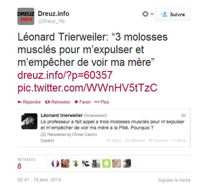 Le tweet de Léonard Trierweiler a été rapidement effacé.