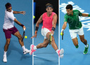 De grote drie in het tennis: Roger Federer, Rafael Nadal en Novak Djokovic.