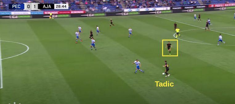 De overlap van binnen naar buiten van Berghuis bij Tadic is een groot wapen gebleken voor Ajax. Beeld Ajax TV