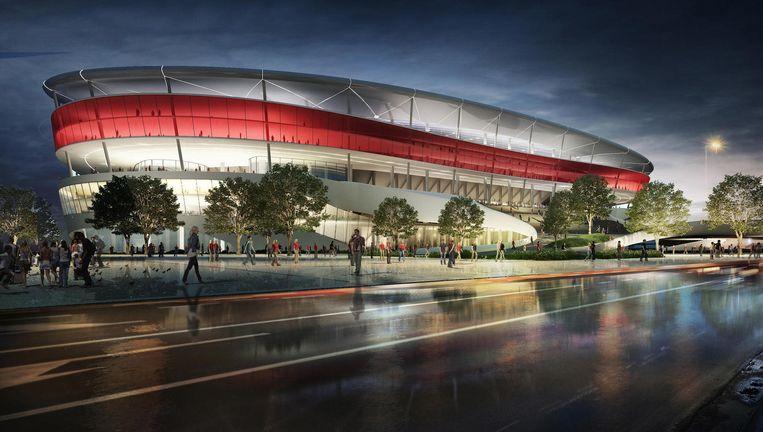 Op deze maquette lijkt het nieuwe voetbalstadion een oase van rust. Achter de schermen heeft bouwheer Ghelamco met heel wat problemen te kampen. Beeld Jasper-Eyers Architects