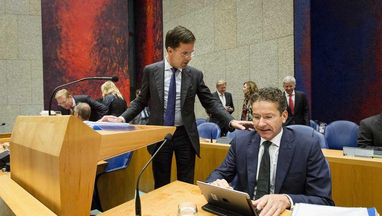 Premier Mark Rutte, en Minister Jeroen Dijsselbloem van Financien voor aanvang van dag twee van de Algemene Beschouwingen. Beeld null