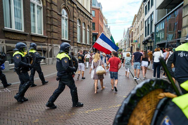 De demonstratie tegen de coronamaatregelen, donderdag in Den Haag. Beeld ANP