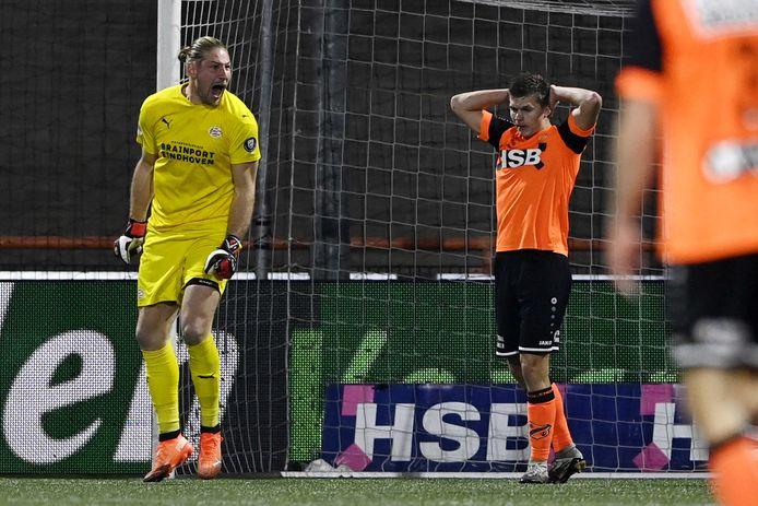 Lars Unnerstall schreeuwt het uit als een kans geen oplevert voor FC Volendam.