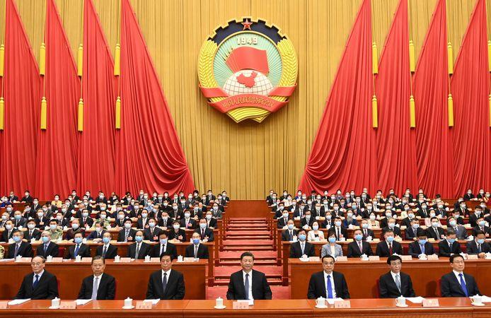 Le président chinois Xi Jinping (au centre), lors de la dernière Conférence consultative politique du peuple chinois (CCPPC)