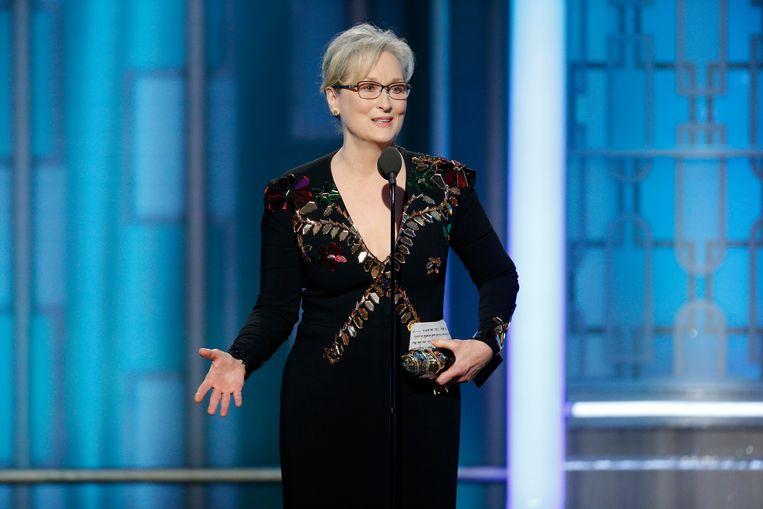 Meryl Streep gebruikte haar speech op de Golden Globes-verkiezing om uit te halen naar Trump. Beeld AP