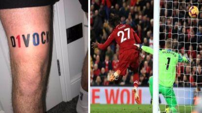 Dat Origi Liverpool naar het delirium zou koppen, kon ook deze fan die nu een tattoo van de Rode Duivel op zijn been heeft niet voorspellen