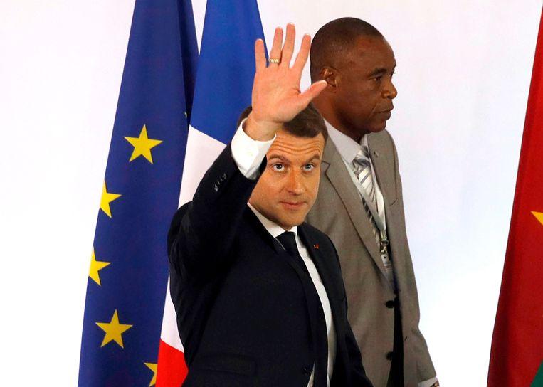 De Franse president Emmanuel Macron net voor zijn speech aan de universiteit van Ouagadougou. Beeld AFP