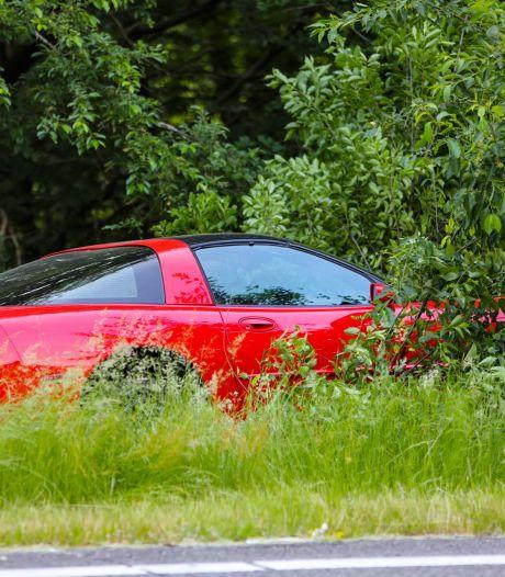 Corvette vliegt bij Apeldoorn uit de bocht en landt op boomstronk: bestuurder mee naar bureau