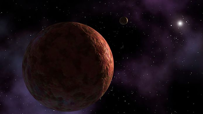 Een artistieke impressie van de dwergplaneet Sedna, vergelijkbaar met de nieuwe 2014 UZ224.
