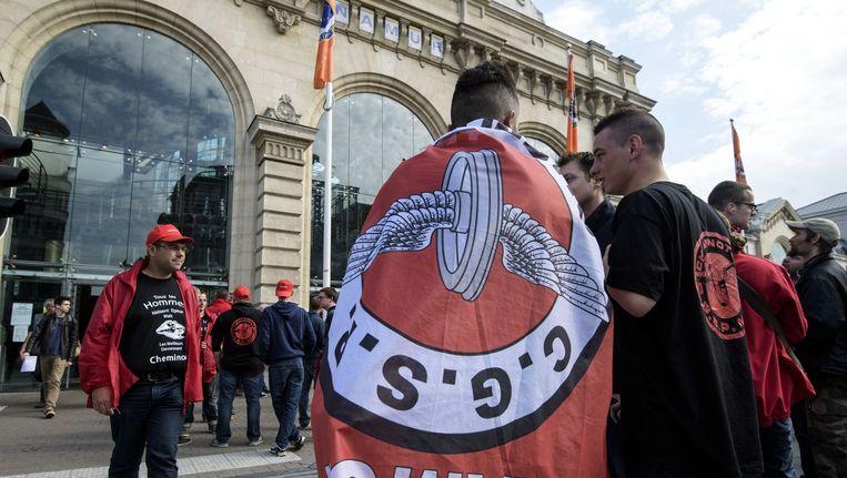 De Franstalige spoorbond CGSP staakt aan het station van Namen. Beeld photo_news
