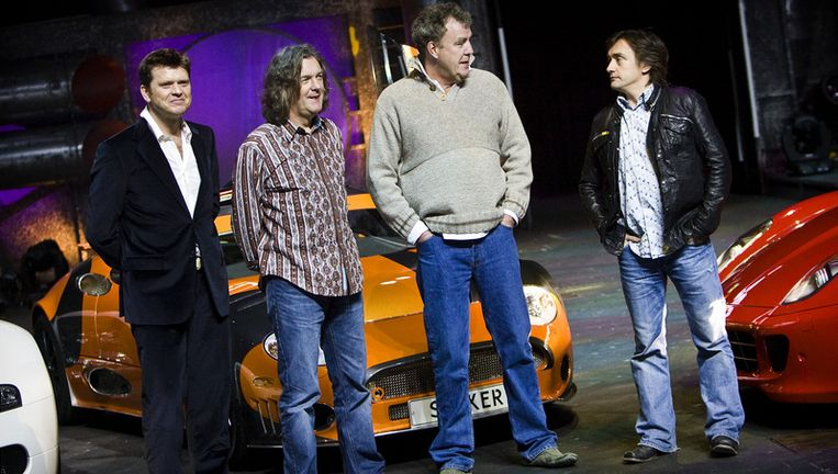 Beau van Erven Dorens (l), naast het Top Gear-team. Foto ANP Beeld