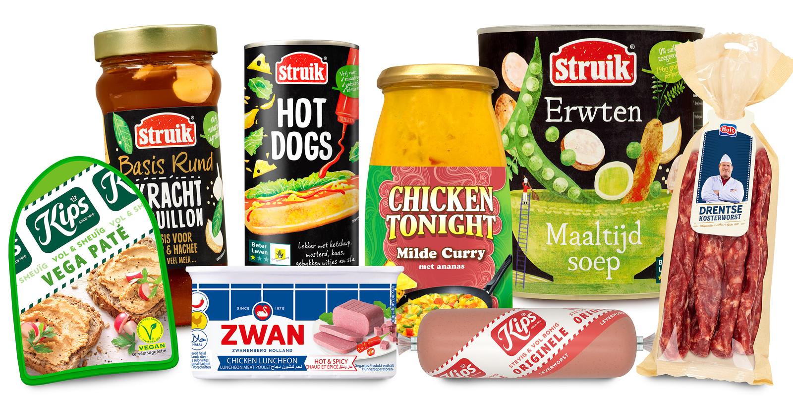 Het assortiment van de gefuseerde producenten Zwanenberg en Struik bevat veel bekende merknamen.