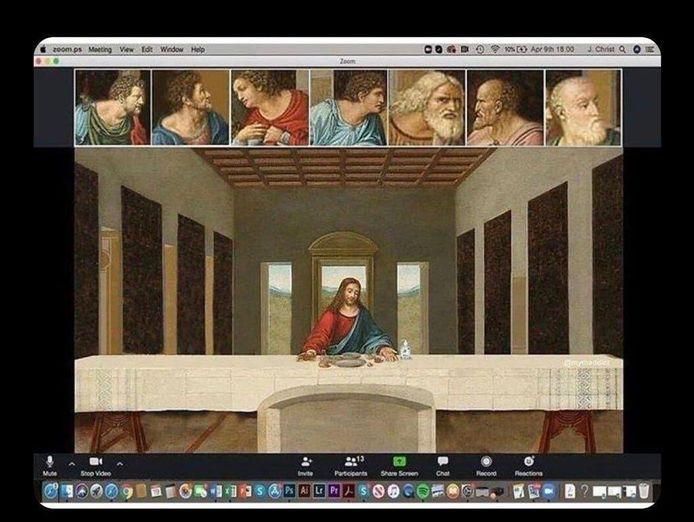 Het Laatste Avondmaal via Zoom. Memes over corona verwezen vaak naar de populaire jongerencultuur, maar ook naar kunstwerken of de bijbelse geschiedenis.