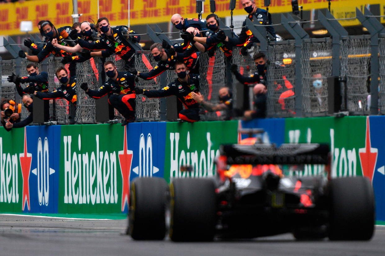 Max Verstappen finisht als derde tijdens de GP van Portugal afgelopen zondag. Beeld AFP