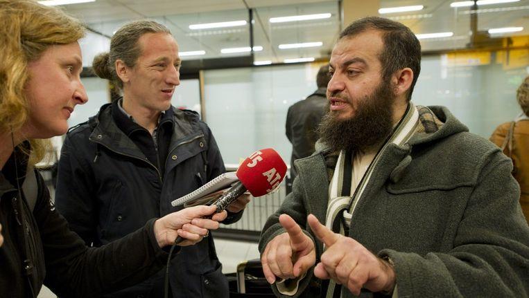 Haitham al-Haddad toen die vanochtend aankwam op Schiphol. Beeld anp