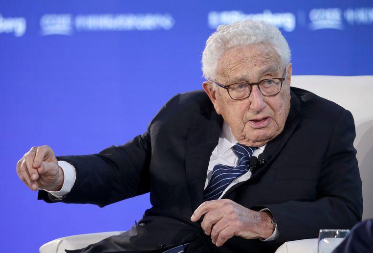 De voormalige Amerikaanse minister van Buitenlandse Zaken Henry Kissinger aan het woord tijdens het New Economy Forum in Beijing in november 2019. Beeld REUTERS