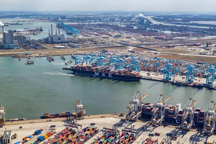 De MSC Rifaya, het eerste schip uit de Suezfile in de Rotterdamse haven