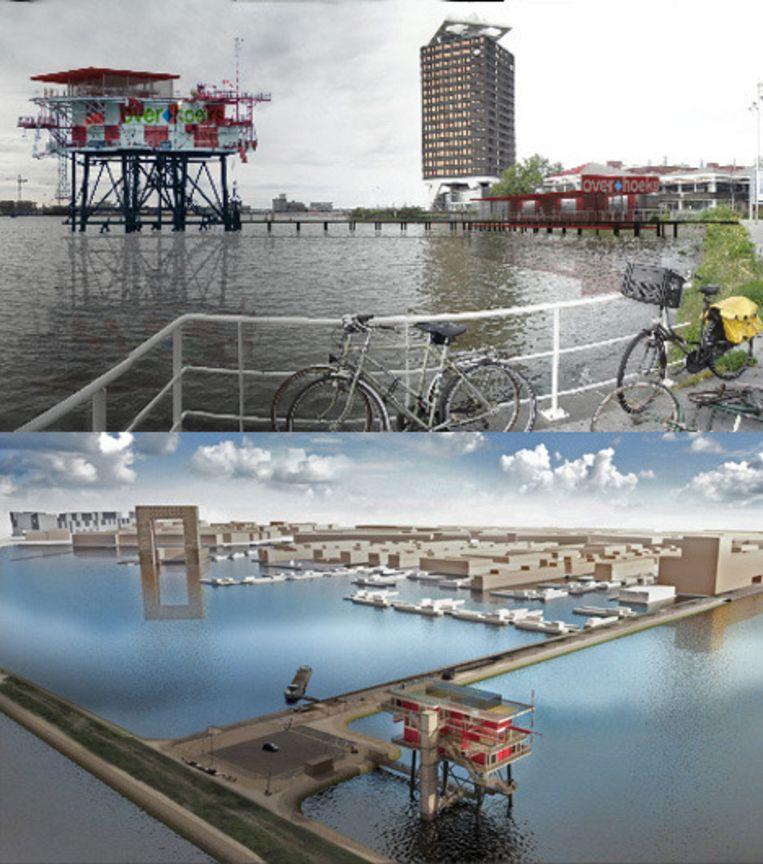 Twee keer het REM-eiland: boven het ontwerp van Noordwestzes, onder de horecaversie van Concrete. Beeld