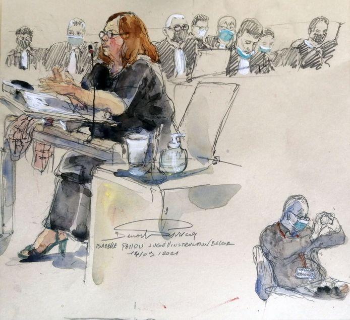 De Belgische onderzoeksrechter Isabelle Panou (L) op de assisenzaak rond de aanslagen in Parijs.