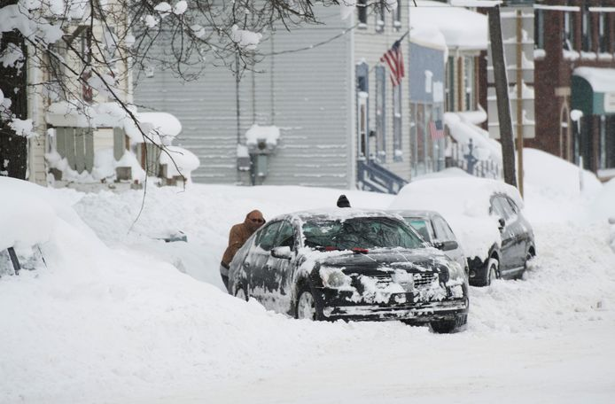 Extreme sneeuwval in Erie, Pennsylvania.