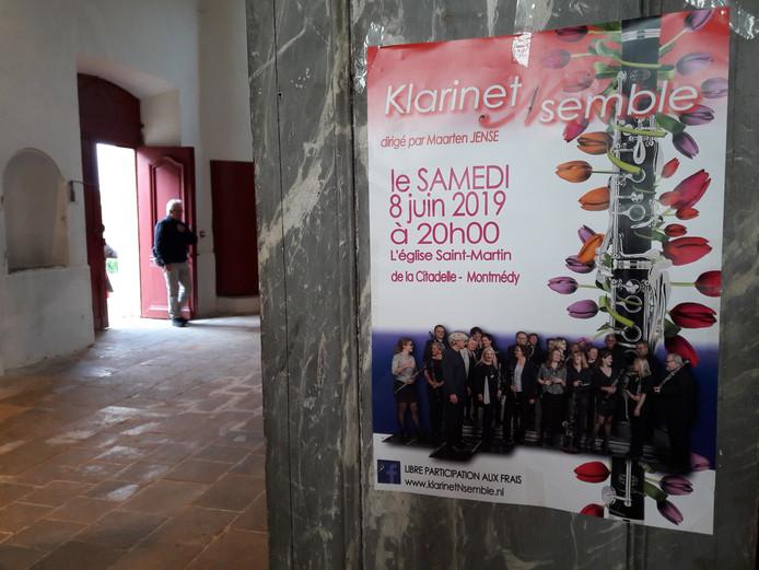 Poster van het concert van het KlarinetNsemble Hilvarenbeek in Montmédy.