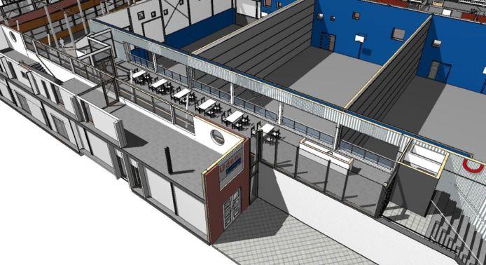 Zo komt de kantine bij de nieuwe sporthal van het Udens College er ongeveer uit te zien.