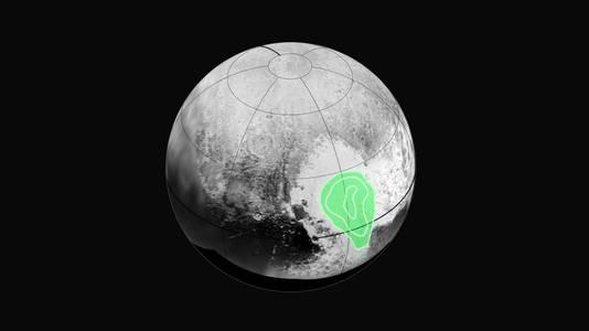 'Tombaugh Regio' wordt hier met groen aangeduid.