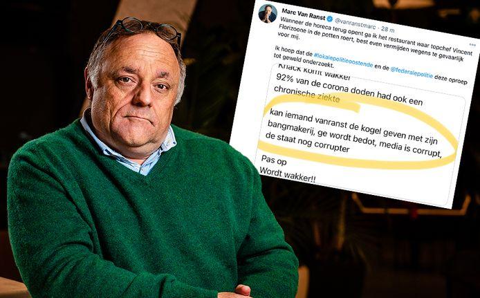 Les menaces au sujet de Marc Van Ranst (photomontage)