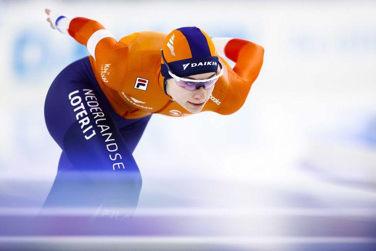 Femke Kok in actie op de 1000 meter dames tijdens de wereldbeker schaatsen in Thialf. Beeld ANP