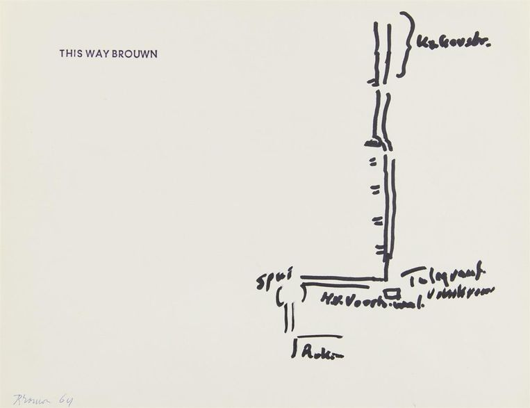 Werk van Stanley Brouwn, wiens kunst toch niet op de Biënnale van Venetië te zien was. Beeld