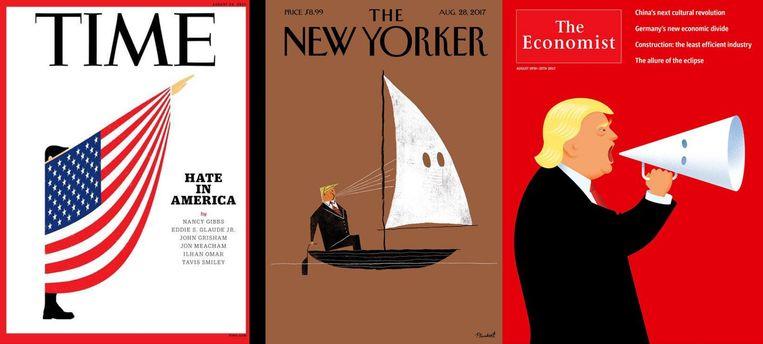 Enkele opmerkelijke Trump-covers in Amerika. Beeld rv