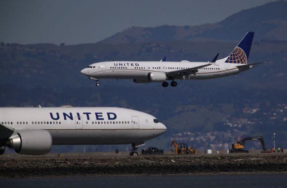 Landing van een Boeing 737 Max 9 van United Airlines op de luchthaven van San Francisco.