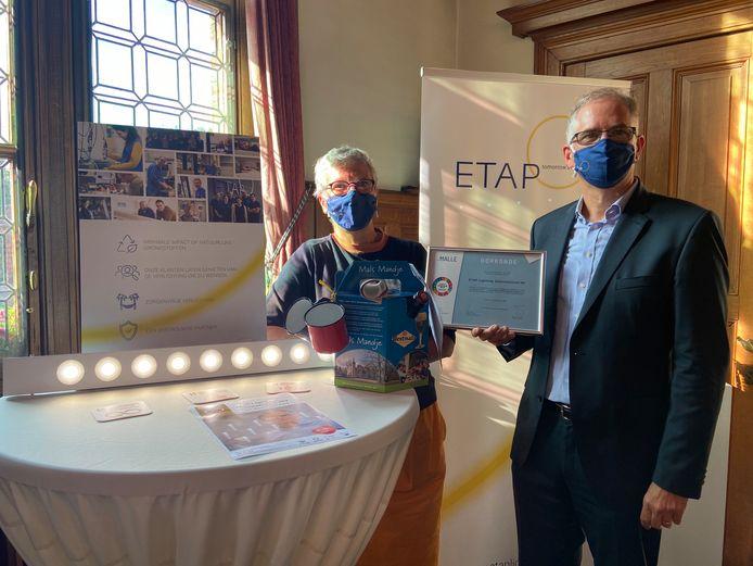 Voorzitter Christ'l Joris (links) en CEO Dominiek Plancke (rechts) van ETAP Lighting International NV