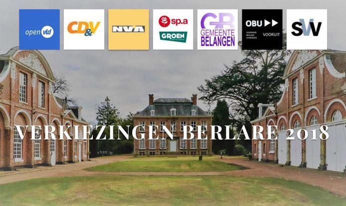 Zo ziet het beginscherm van de website Verkiezingen-Berlare.be eruit.