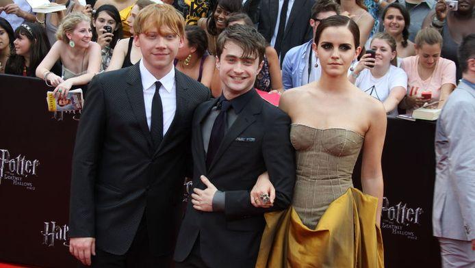 Rupert Grint, Daniel Radcliffe en Emma Watson wonen in New York de première bij.