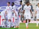 Een vierend Anderlecht (links) versus een ontgoocheld Anderlecht (rechts).