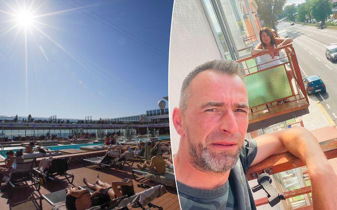 Bart Op de Beeck en zijn vrouw Christine Vandenberghe uit Ternat zagen hun droomcruise eindigen in een coronahotel in Venetië. Ze zitten elk op een aparte kamer en zien elkaar alleen via het balkon.