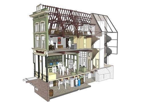Doorsnede van het Huis van Bosch na de restauratie van De Kleine Winst.