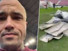 Dak stadion Royal Antwerp FC waait het veld op, Nainggolan neemt een kijkje