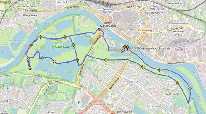 Bridgeloop 2021: het parcours van de 16 Engelse mijl in Arnhem.