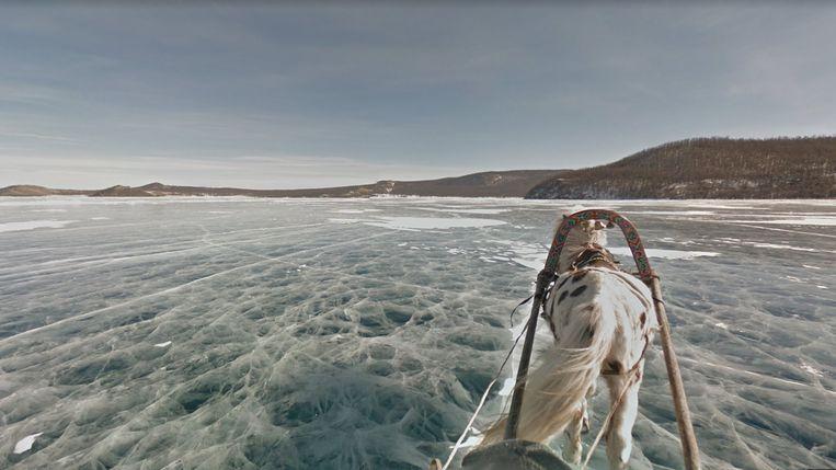 Het meer van Khövsgöl in Mongolië. Beeld Google Maps