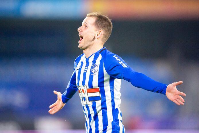Joey Sleegers schreeuwt het uit na zijn late doelpunt tegen FC Den Bosch