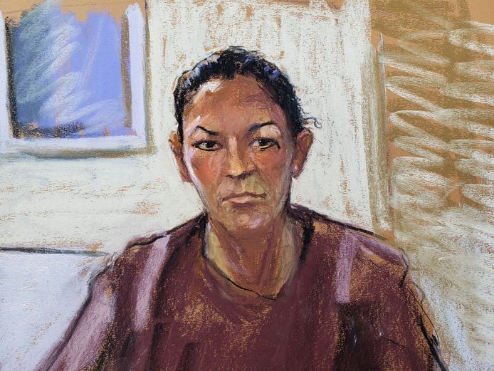 Een eerdere rechtbanktekening van Ghislaine Maxwell, van een keer dat ze via een videoverbinding bij de zitting aanwezig was.