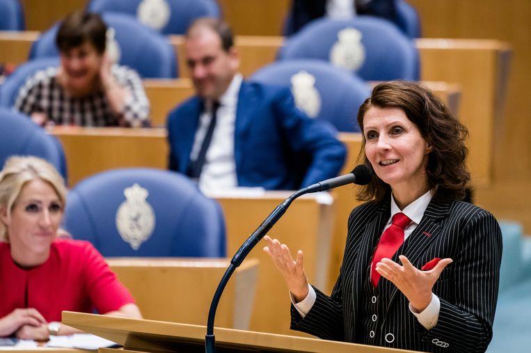 Esther Ouwehand (PVDD) in de Tweede Kamer.  Beeld ANP
